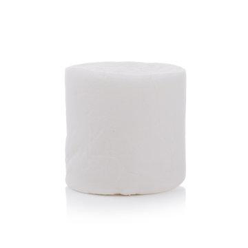 One Fluffy white marshmallow closeup isolated on white background.