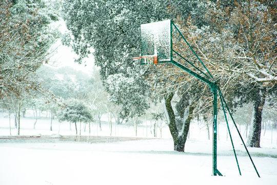 Basketball basket in snowy field