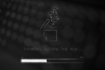 think outside the box open parcel with lightbulbs flying out and progress bar loading
