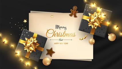 Vector photorealistic top view christmas still life. Vector design xmas banner, brochure cover. Merry christmas callygraphy.