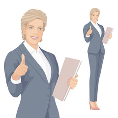 Business Woman with Smile. Pointing to element. Pointing OK finger.