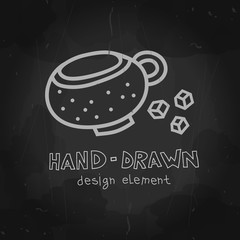 Dotted Coffee cup with sugar. Vector chalkboard drawing. Tea cup illustration. Teacup can be used for ads, banners or restaurant, coffee shop and bakery.