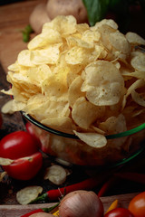 Potato chips with vegetables and spices.