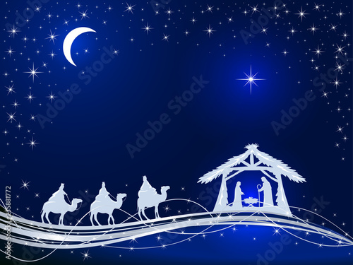 Christmas Background Christian.Christian Christmas On Blue Background With Birth Of Jesus