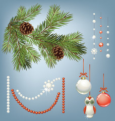 Vector branch of Christmas tree with pine cone and collection of decorations