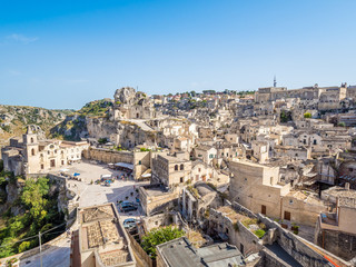 Panoramic view of the Sassi di Matera, prehistoric historic center, UNESCO World Heritage Site, European Capital of Culture 2019 (wide)