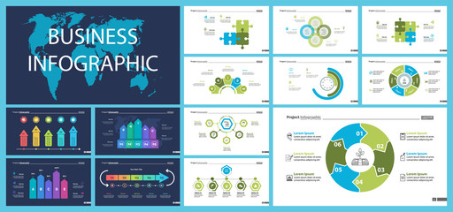 Business infographic diagram slide templates set can be used for workflow layout, annual report, web design. Marketing concept. Donut, arrow, timeline, process charts, bar graph, cycle, area diagram
