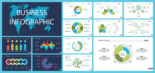 Business inforgraphic slide design set can be used for presentations, annual report, web design. Management concept. Process, option, comparison graphs, area chart, flowchart, donut diagram