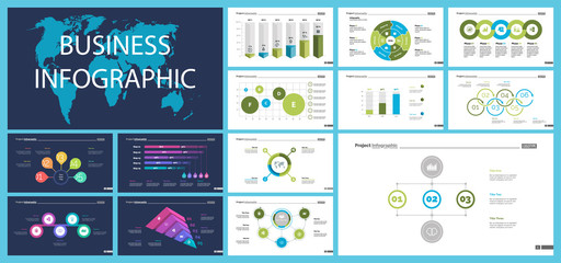 Creative business infographic design for management concept. Can be used for workflow layout, annual report, web design. Process chart, option chart, flowchart, donut chart, comparison, bar graph
