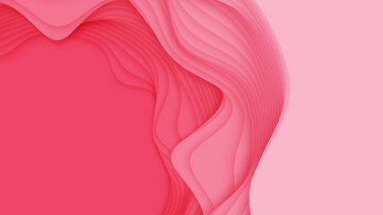 Vector 3D abstract background with paper cut shape. Colorful red carving art. Paper craft Antelope canyon landscape with soft gradient colors. Minimalistic design for business presentations, flyers.