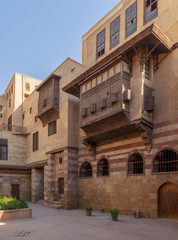 Courtyard of El Razzaz House, a Mamluk era historic house located at Darb Al-Ahmar district, Old Cairo, Egypt