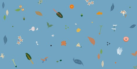 Natural Foods and Plants Illustration on Blue Background Pattern