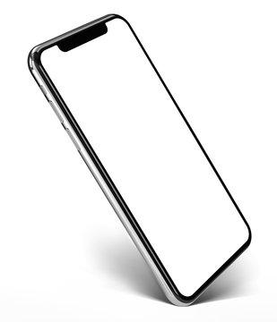 Smartphone frame less blank screen  - standing on corner