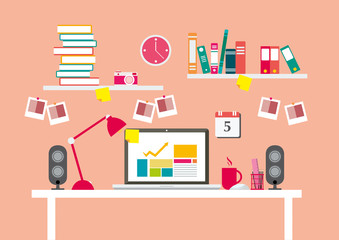 Workplaces or desk and equipments for work in office, flat line vector and illustration.