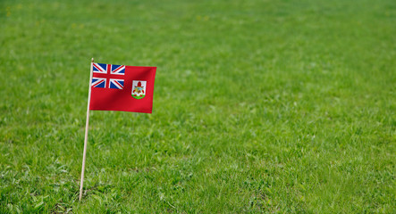 Bermuda flag. Photo of  Bermuda flag on a green grass lawn background. Close up of national flag waving outdoors.