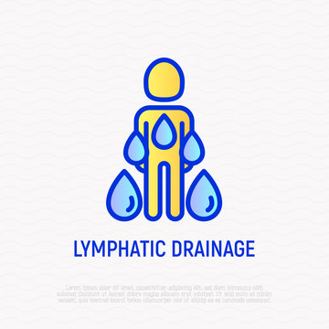 Lymphatic drainage thin line icon, stimulation of lymph to remove toxins and water from body. Modern vector illustration.