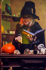 Portrait of witch reading spell over pot of green steam