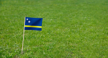 Curaçao flag. Photo of Curacao flag on a green grass lawn background. Close up of national flag waving outdoors.