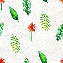Seamless pattern With Tropical leaves. Watercolor Background