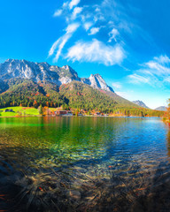 Fantastic autumn sunny day on Hintersee lake