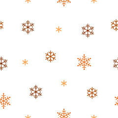 Background of golden snowflakes. Seamless pattern.