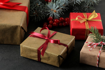 New Year. Christmas. holidays. holiday gifts and new year decor on a dark background close-up