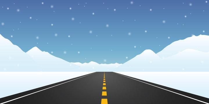 straight asphalted road winter travel landscape vector illustration EPS10