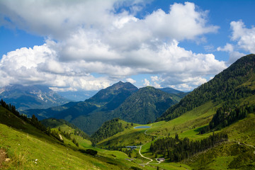 Beautiful panorama on the two hours trail to Wildseeloder house and Wildsee lake, historical and nature reserve place in Alps, Fieberbrunn, Austria