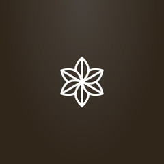 white sign on a black background. vector geometric line art sign of a six-leafed flower