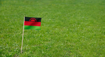 Malawi flag. Photo of Malawi flag on a green grass lawn background. Close up of national flag waving outdoors.