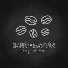 Hand drawn vector coffee beans chalkboard drawing. Stylized chalk drawing on blackboard can be used for packaging, coffee shop ads, signs, banner, poster.