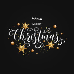 Merry Christmas Calligraphic Inscription Decorated with Golden Stars and Beads on Black Background. Vector illustration