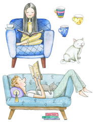 Set with boy and girl reading book, cat and three mugs isolated on white background. Watercolor hand drawn illustration