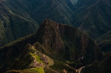 Putucusi and Urubamba River as seen from Machu Picchu Mountain