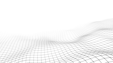 White wave composed of lines and points. Abstract light background. Wave of particles.