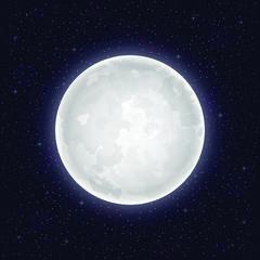 Realistic full moon. Vector illustration
