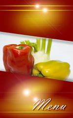 Menu con verdure, progetto grafico.
