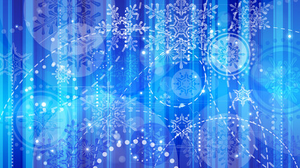 Snowflakes and festive lights - vector background with beautiful snowflakes that merrily shine and shimmer in color space