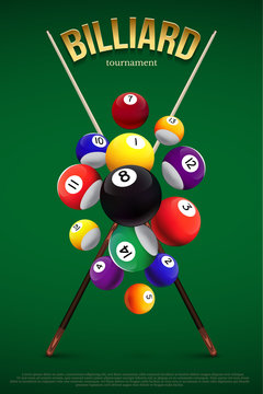 Billiard tournament poster template. Different falling billiard balls and two crossed cues on green background. Vector billiard illustration.
