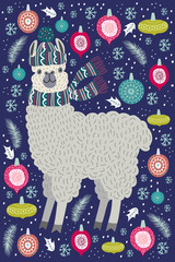 Cute llama surrounded by Christmas tree toys, template for card and your design. Hand drawing flat doodles vector Illustration