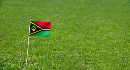 Vanuatu flag. Photo of Vanuatu flag on a green grass lawn background. Close up of national flag waving outdoors.