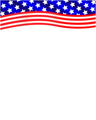 American flag ribbon decoration frame with blank space for your text.
