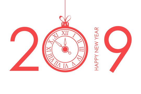 2019 Happy New Year text design with christmas ball and new year clock. Vector illustration.