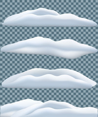 Snowbank set isolated on transparent blue background. Vector winter objects.