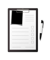 Clipboard with form, pen and photo template. Vector questionnaire or form blank template.