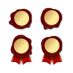 Blank wax seals with golden round center and red ribbon isolated on white background. Vector wax seal set.