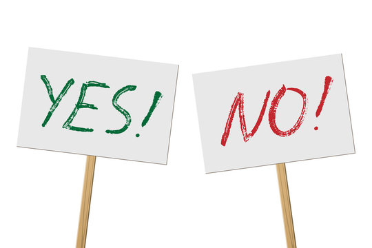 Yes and No signs banners on wood stick collection. Vector protest signs with Yes and No words isolated on white background.