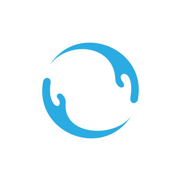 circle care hand palm blue water logo