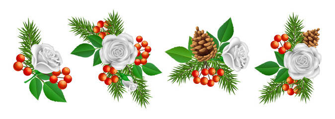 Christmas decoration bouquet, with white rose flower, green leaf, pine branch, pine cone and red berry. Plant ornament set, organized in horizontal banner, isolated on white, for winter design