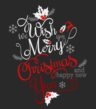 Have very Merry Christmas and Happy New Year we wish you lettering logo